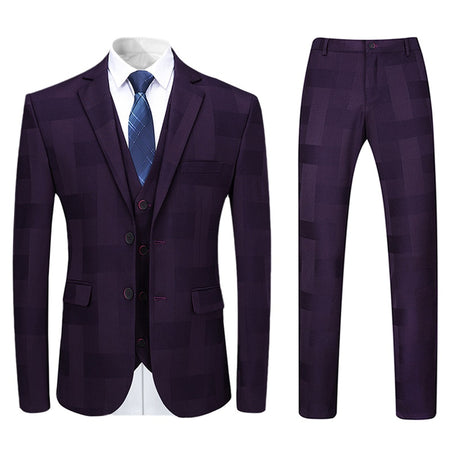 3-Piece Slim Fit Plaid Suit Stylish Maroon Suit