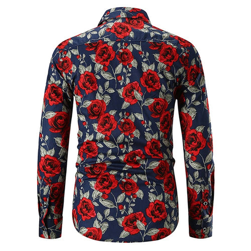 Slim Fit Banana Print Shirt Navy