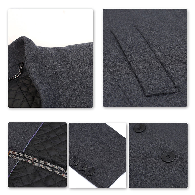 men's Grey winter coat slim fit long business warm wool winter coat