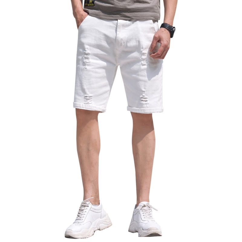 White Denim Shorts For Men Ripped Short Jeans