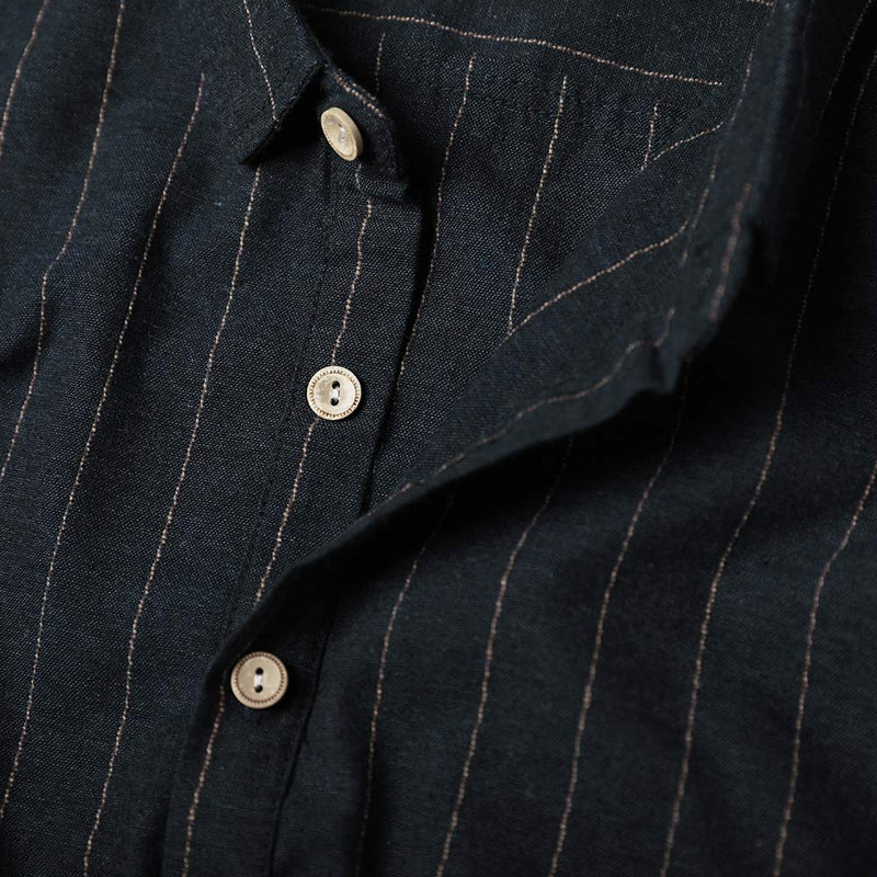 Navy Cotton Shirt Button-down Fitted Stripe