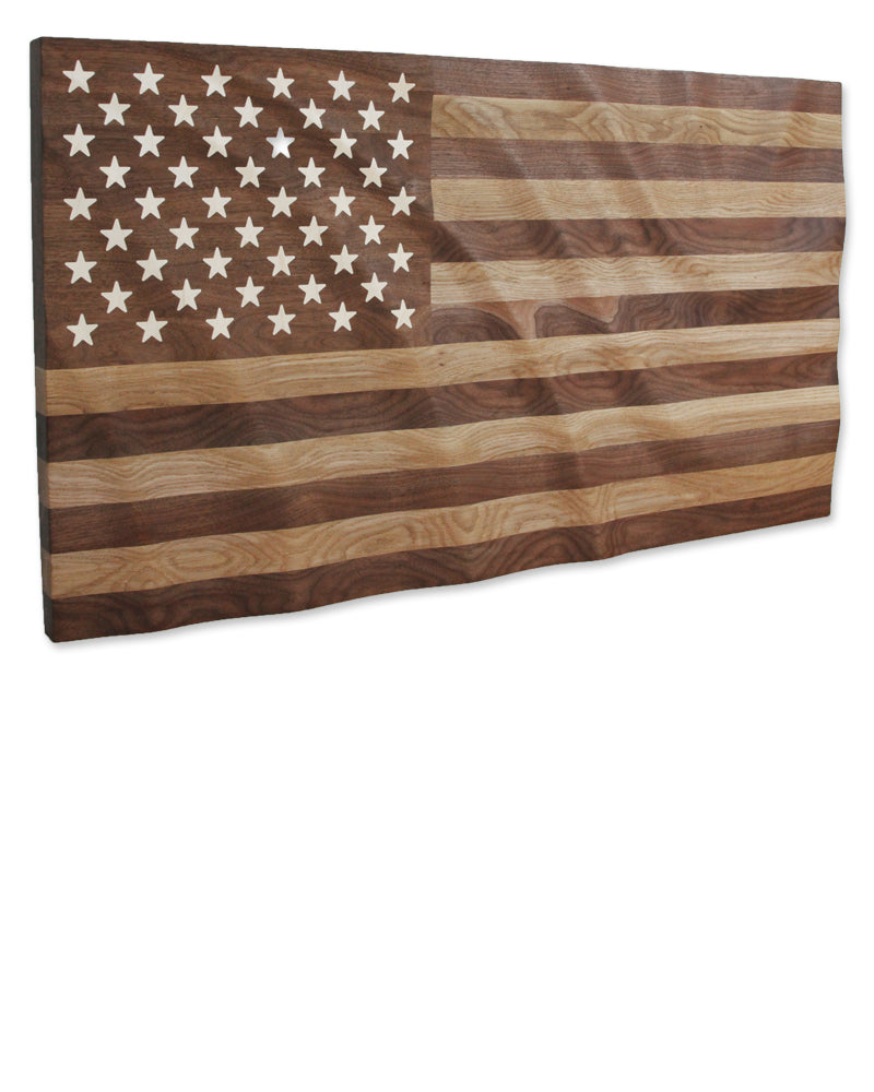 Hardwood waving American Flag