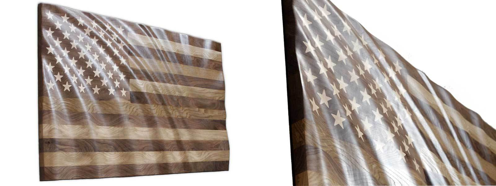 Hardwood waving American Flag 3' X 5'