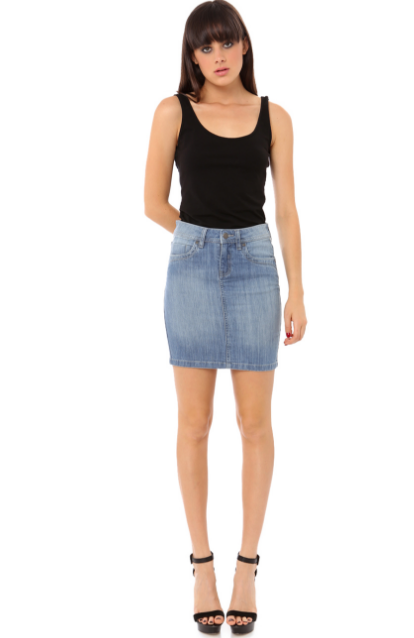 SARAH DENIM SKIRT - STONE WASH