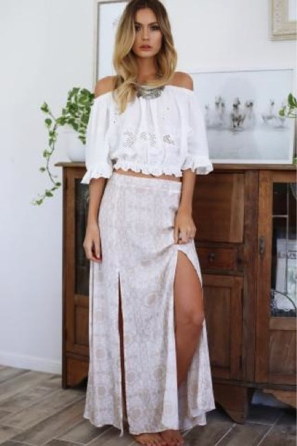 CRAZY LOVE CARAMEL MAXI SKIRT