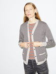 Boy Cardigan in Oatmeal/Brown Stripe