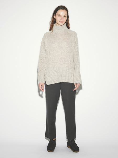 Wool Gabardine Relaxed Pant in Coal