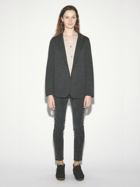 Jersey Blazer in Black Herringbone