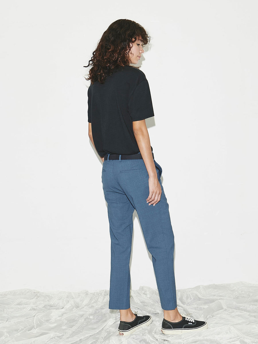 Cropped Trouser in Blue Melange