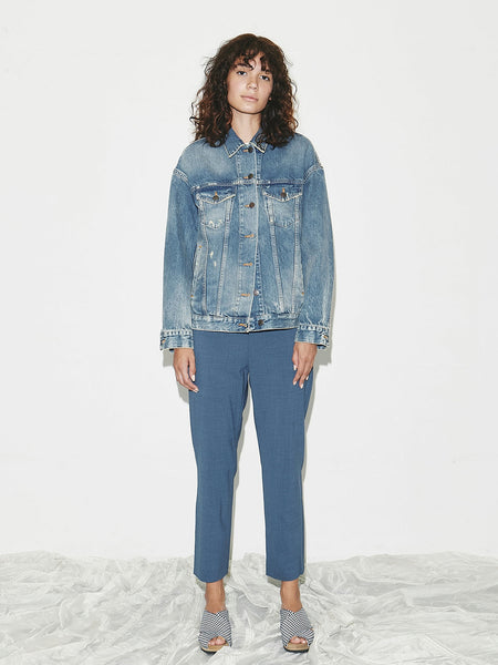 Pull-On Trouser in Blue Melange