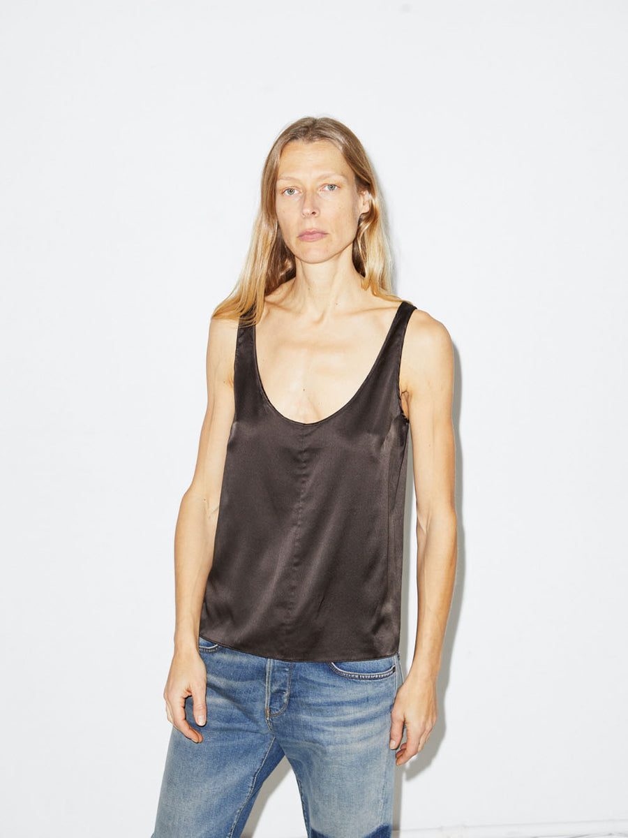 Silk Tank in Dark Taupe