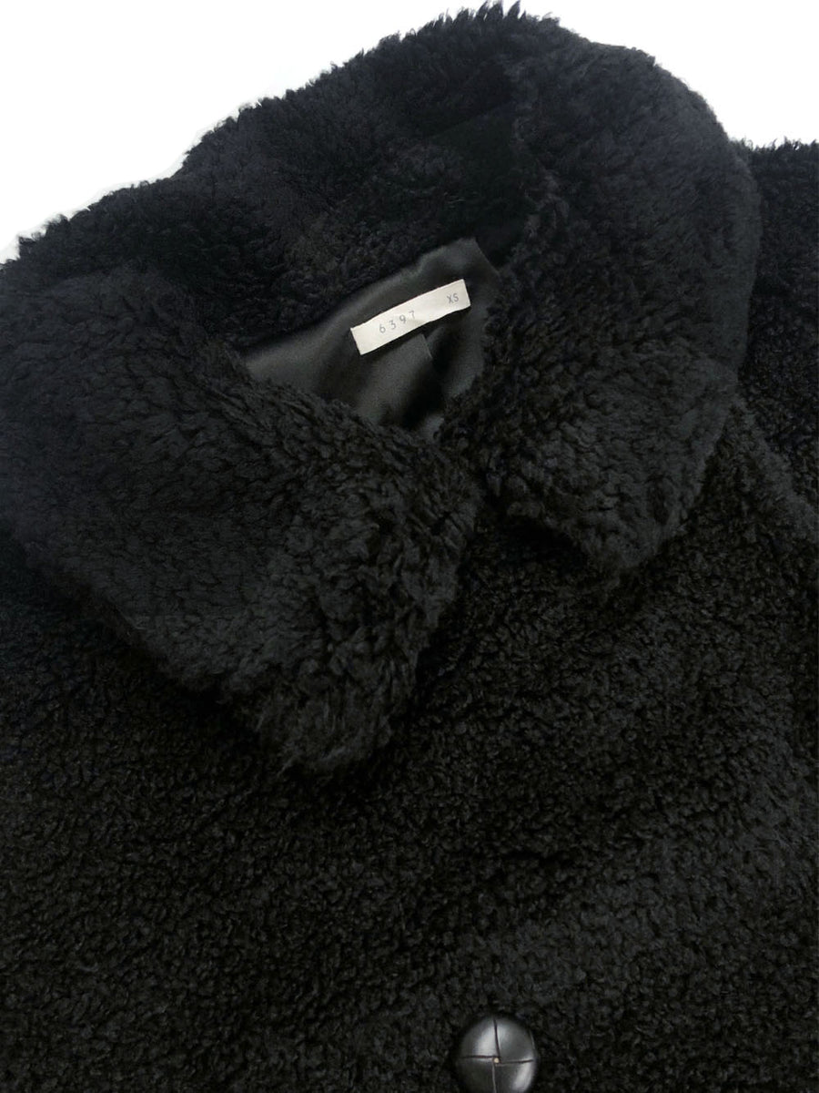 Fuzzy Peacoat in Black