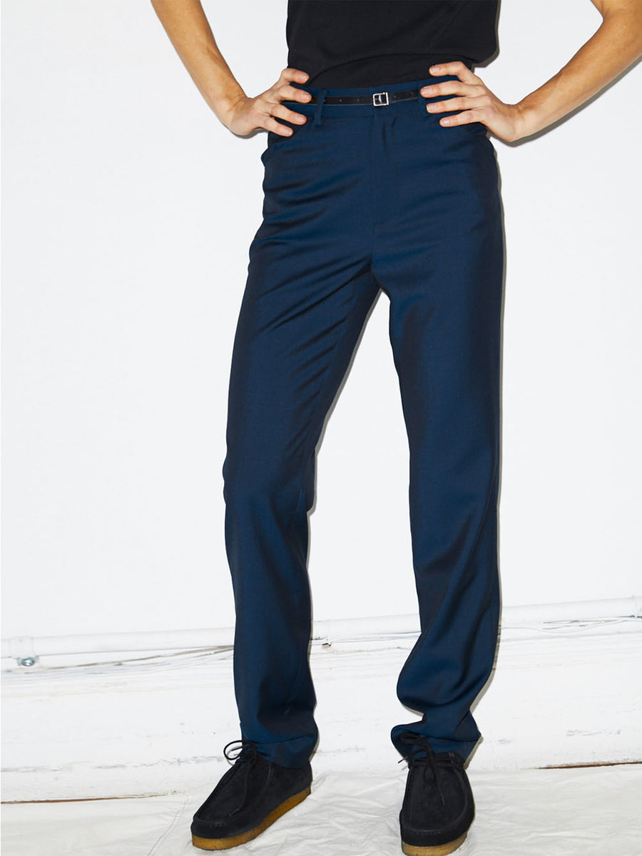 High Waisted Trouser in Blue