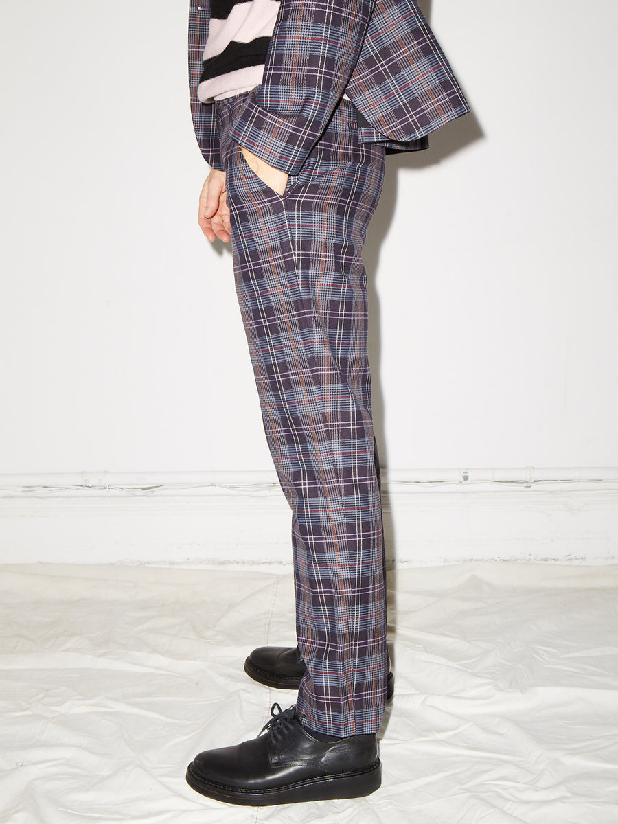 Relaxed Pant in Purple Plaid