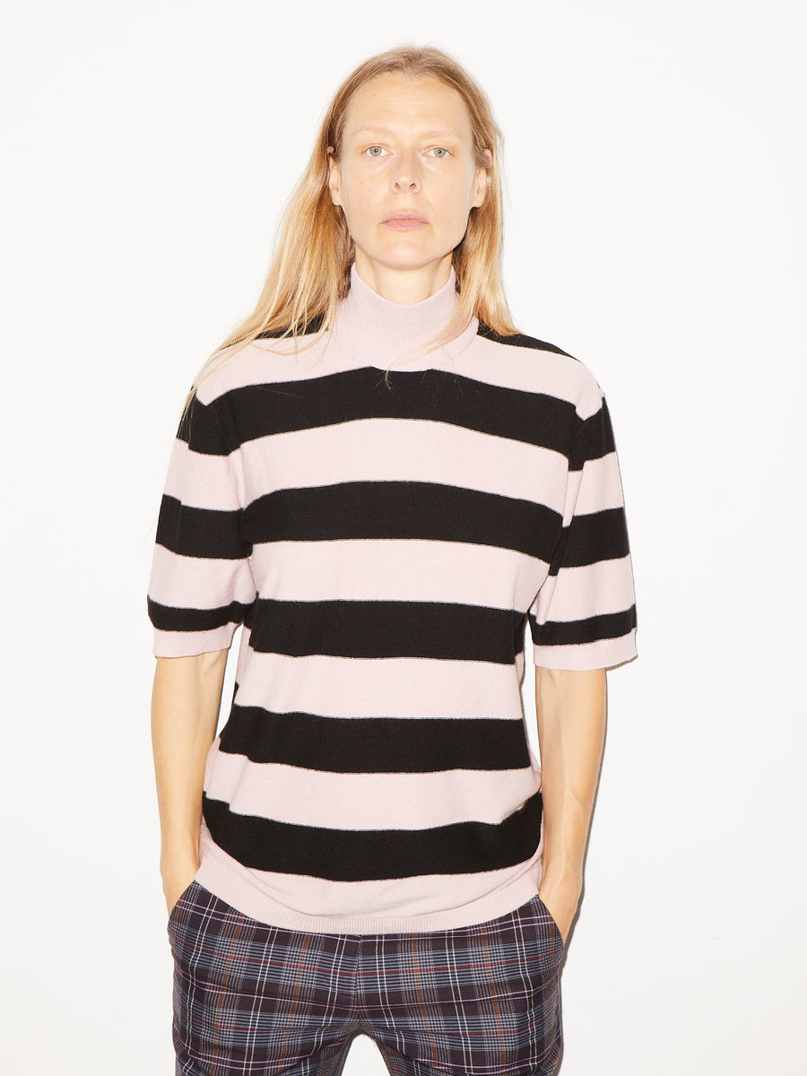 Striped Mock Pullover in Pink/Navy