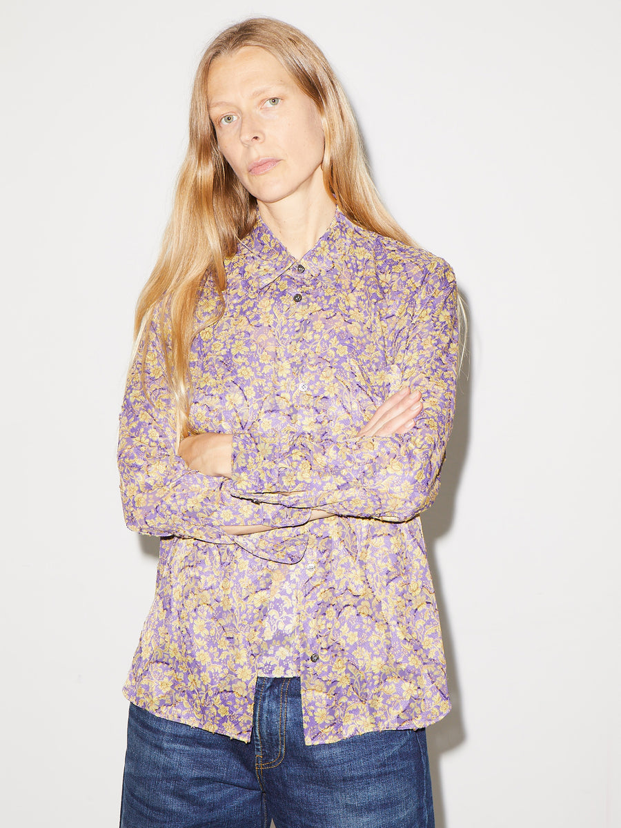 Sheer Floral Paisley Shirt in Purple