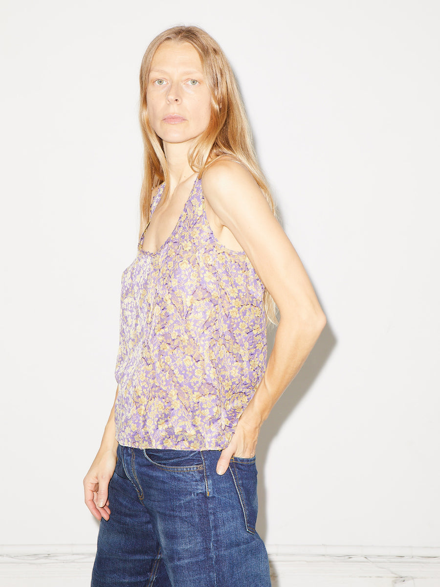 Floral Jacquard Tank in Purple