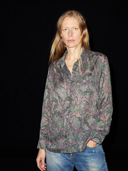Sheer Floral Paisley Shirt in Green