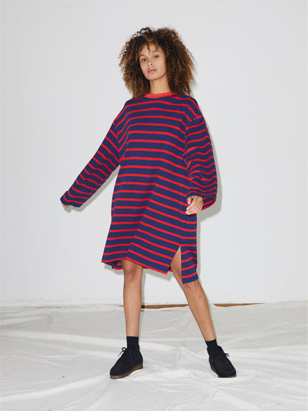 Striped Pique Dress in Navy/Red Stripe
