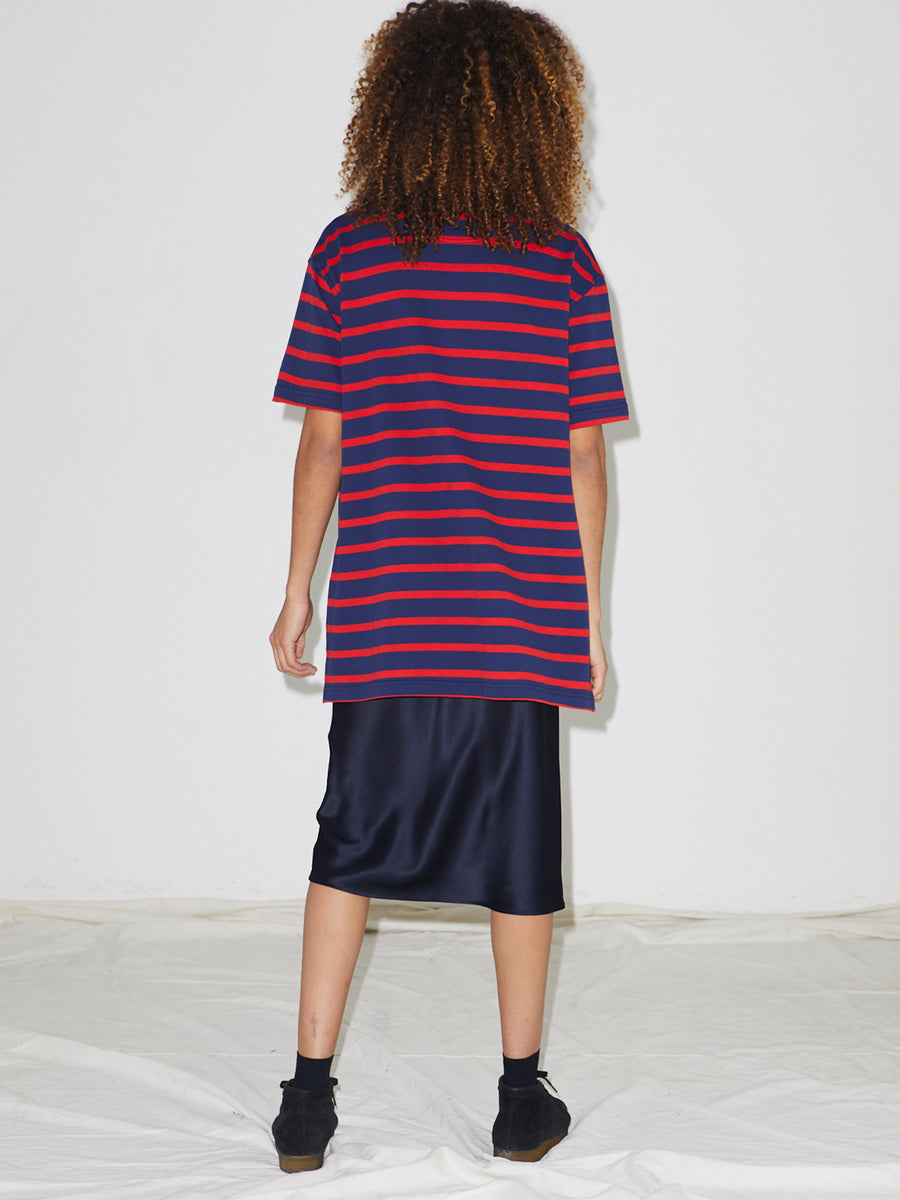 Striped Pique Polo in Navy/Red Stripe