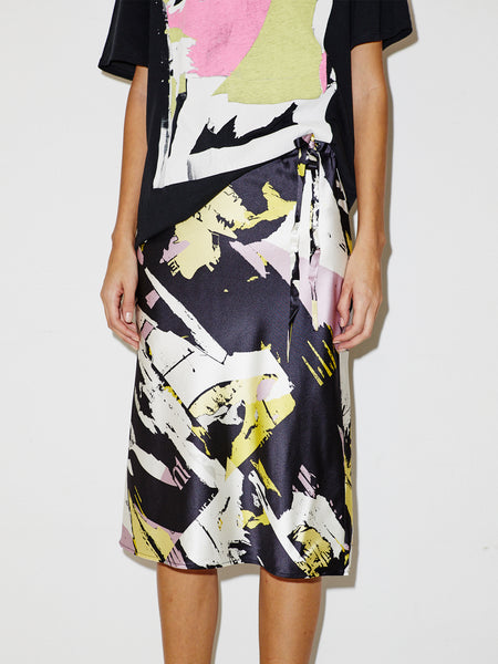 Silk Drawstring Skirt in Black Torn Print