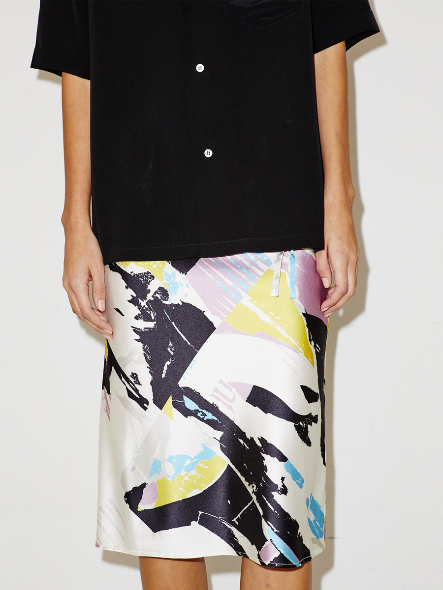 Silk Drawstring Skirt in White Torn Print