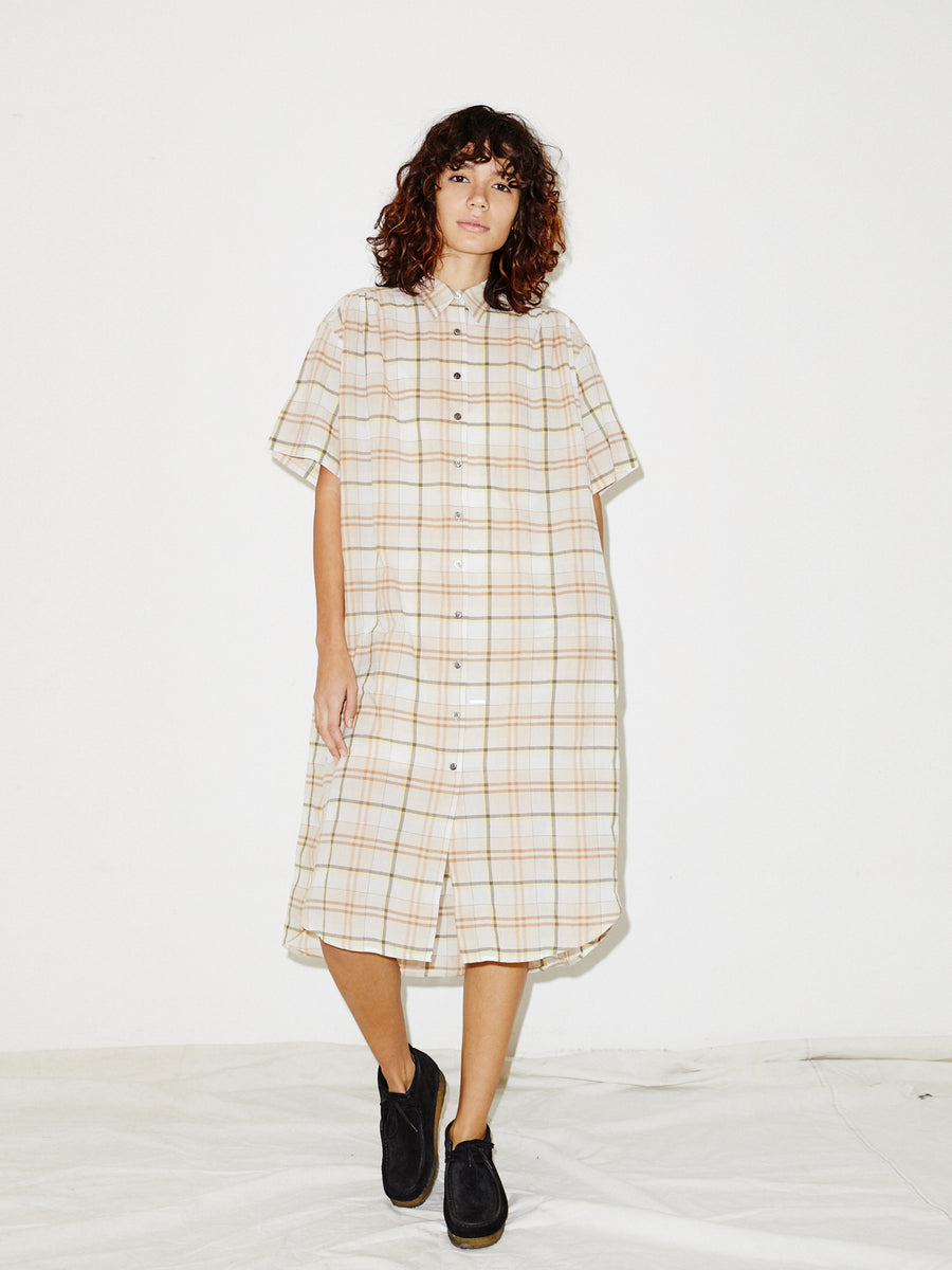 Oversized Shirtdress in Beige Plaid