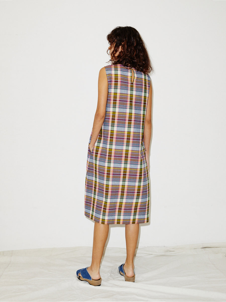 Long Tank Dress in Red Madras