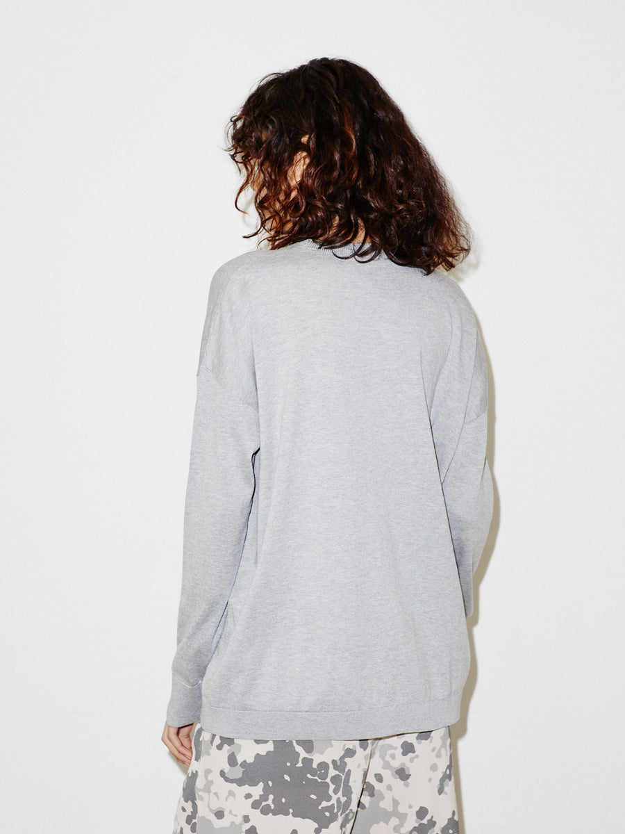 Slouchy Crew in Heather Grey