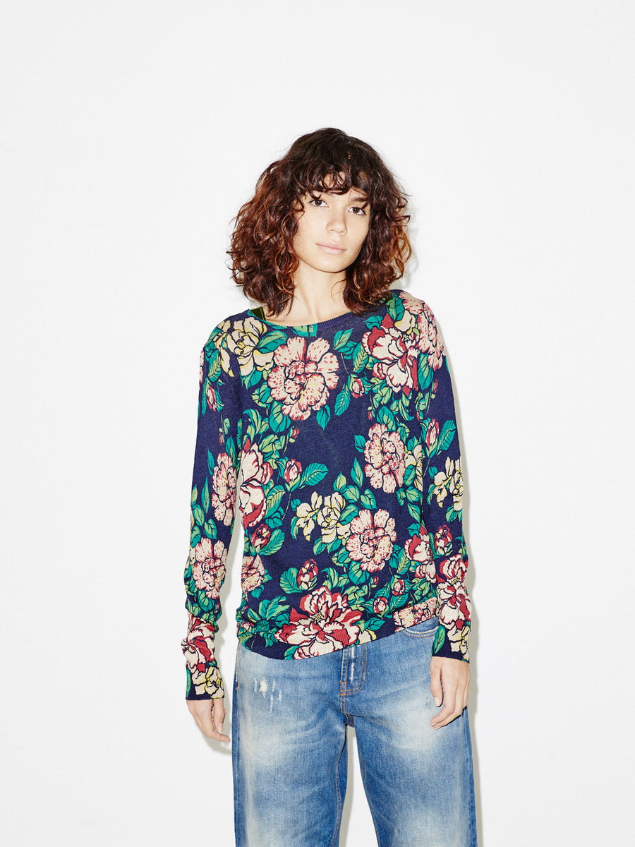 Floral Crewneck in Navy