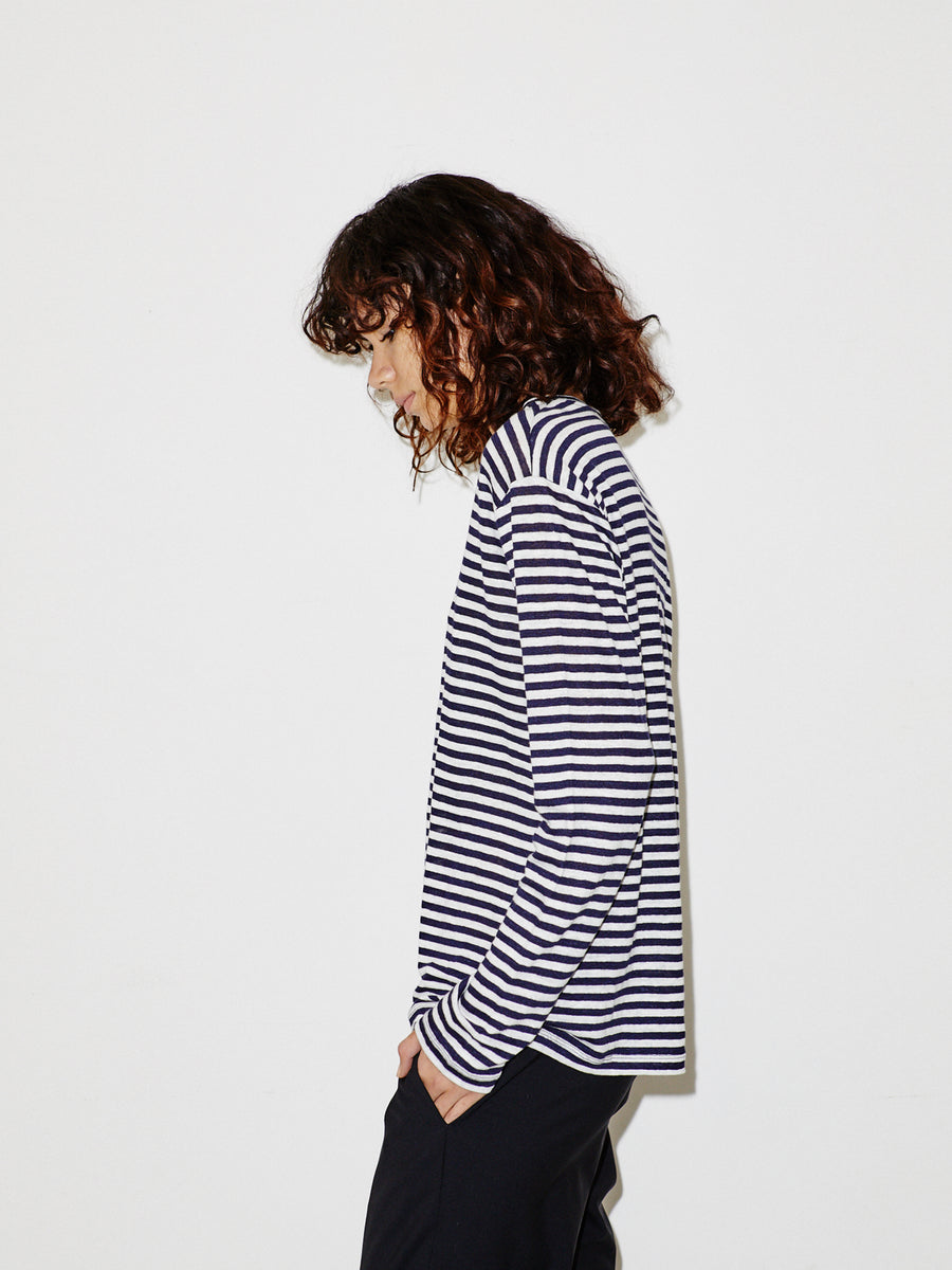 Striped Linen LS Man T
