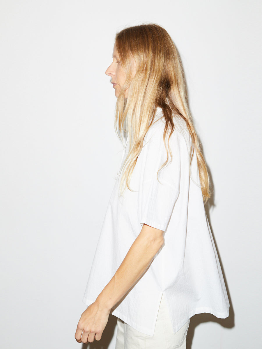 Striped Smock Shirt in White