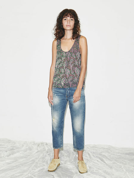 Floral Jacquard Tank in Green