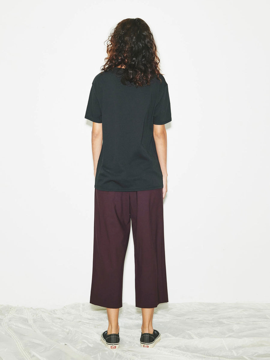 Wide Leg Pull On Pant in Dark Purple