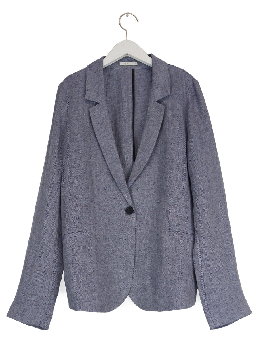 Linen Summer Blazer in Dusty Blue