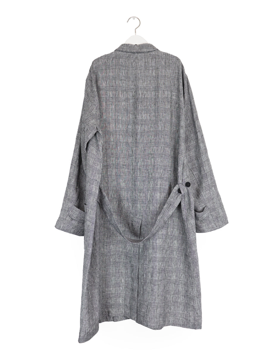 Linen Lab Coat in Glen Plaid