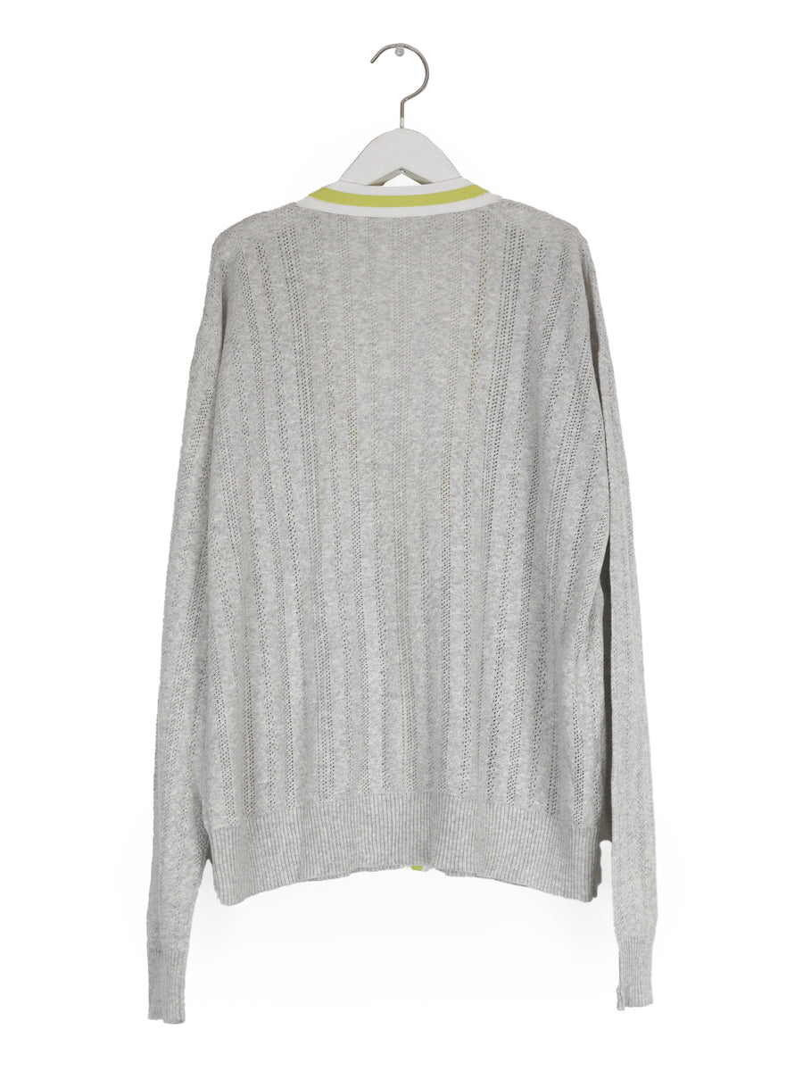 Pointelle Cardigan in Heather Grey