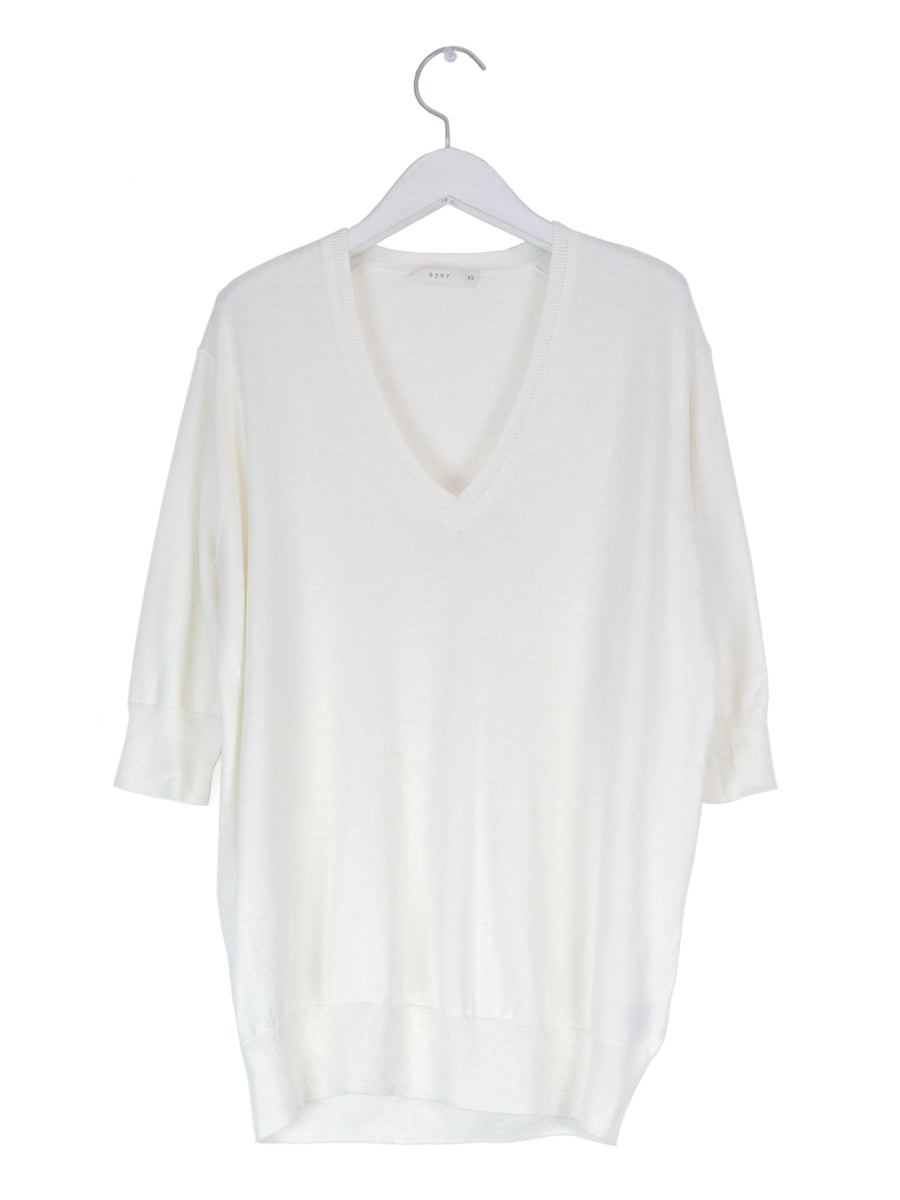 Silk Cotton Elbow Sleeve V-Neck in White