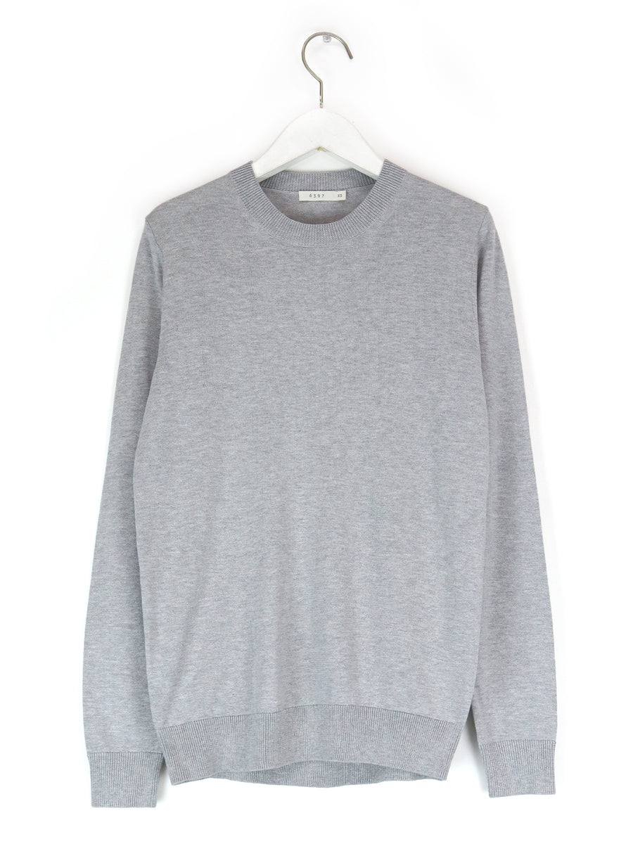 Silk Cotton Shrunken Crewneck in Heather Grey