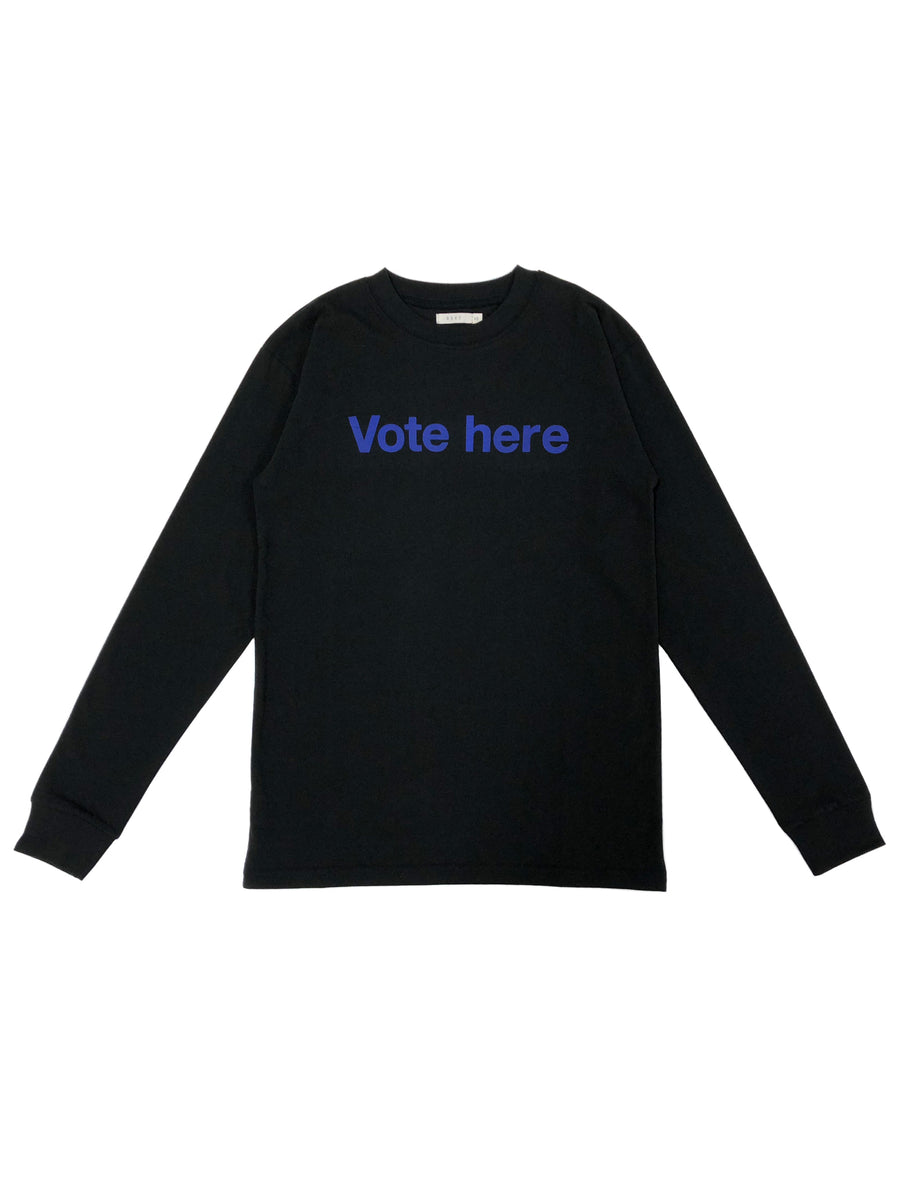 Vote Here L/S Boy T in Jet Black