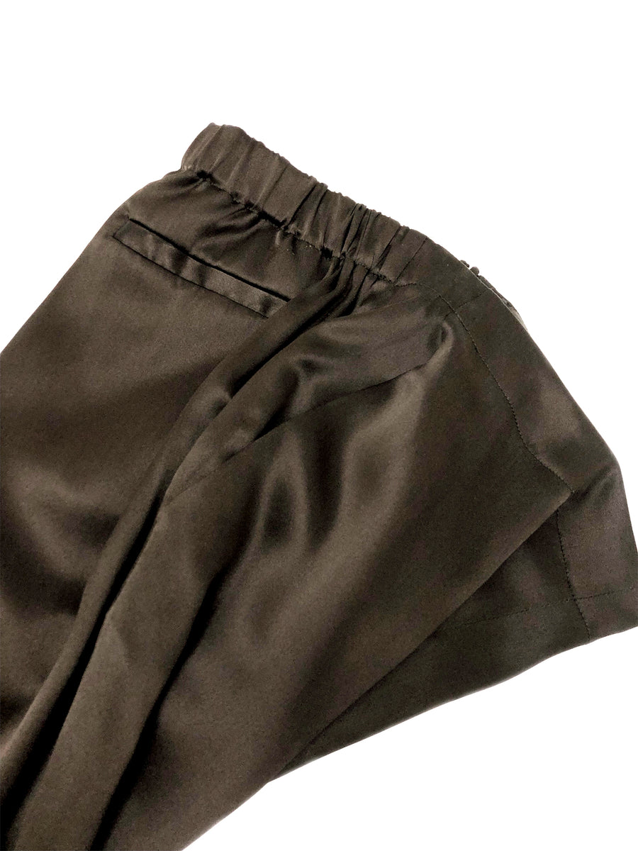 Silk Pull On Trouser in Dark Taupe