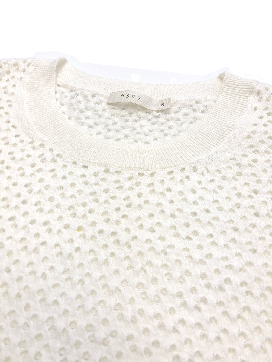 Mesh Slouchy Crew in White