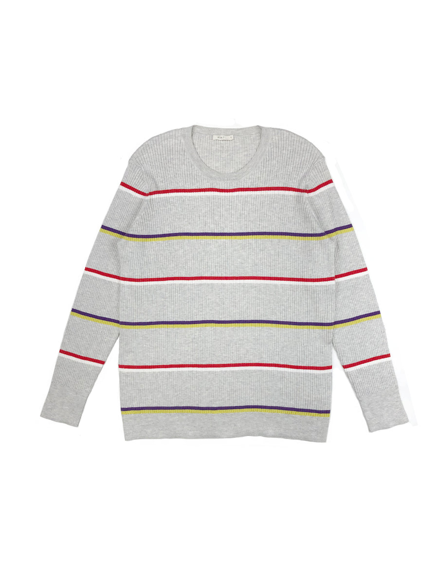 Striped Crewneck in Heather Grey