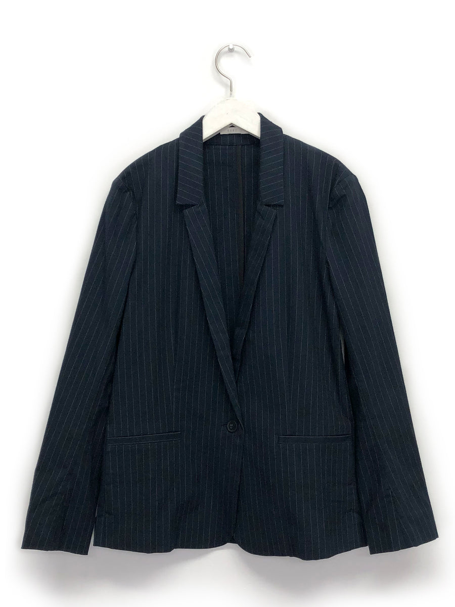 Navy Pinstripe Mini Lapel Blazer
