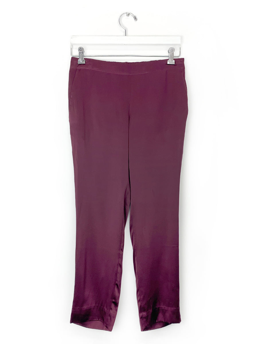 Burgundy Silk Pull On Trouser