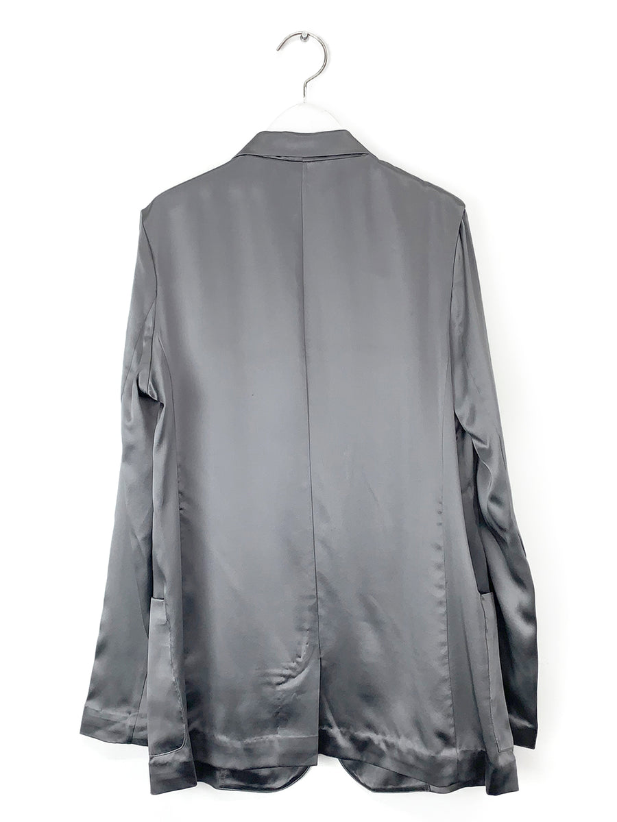 Silk Blazer in Steel