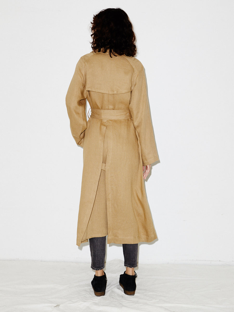 Linen Trench in Khaki