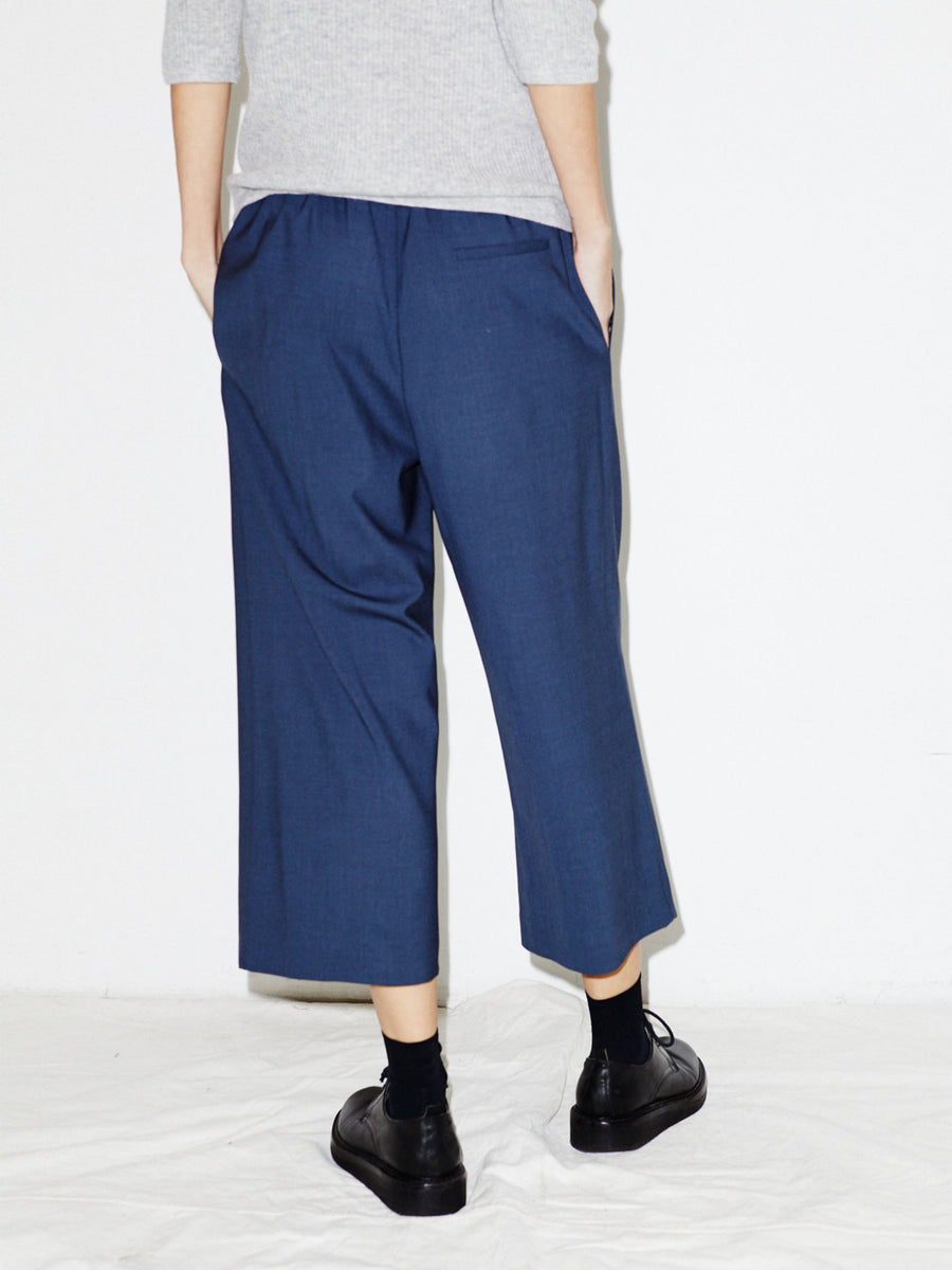 Wide Leg Pull On Pant in Midnight Melange