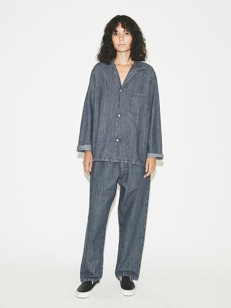 Denim PJ Shirt in Stone Wash Grey