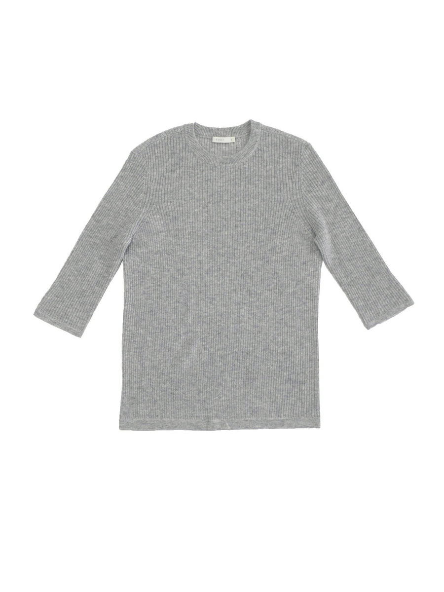 Ribbed Crewneck in Heather Grey